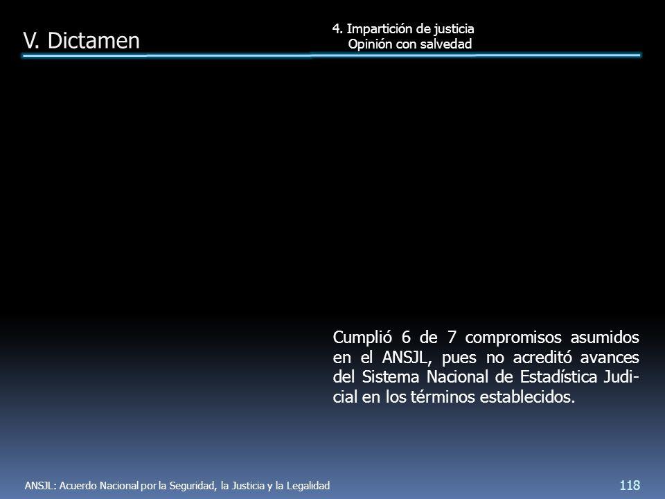 Cumplió 6 de 7 compromisos asumidos en el ANSJL, pues no acreditó avances del Sistema Nacional de Estadística Judi- cial en los términos establecidos.
