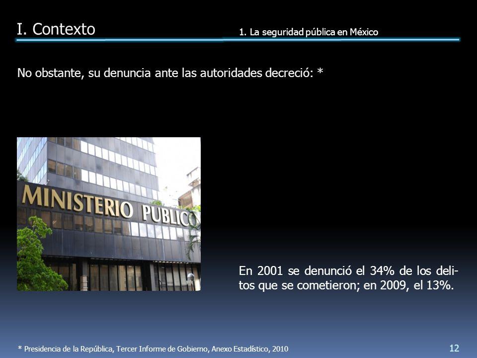 En 2001 se denunció el 34% de los deli- tos que se cometieron; en 2009, el 13%.