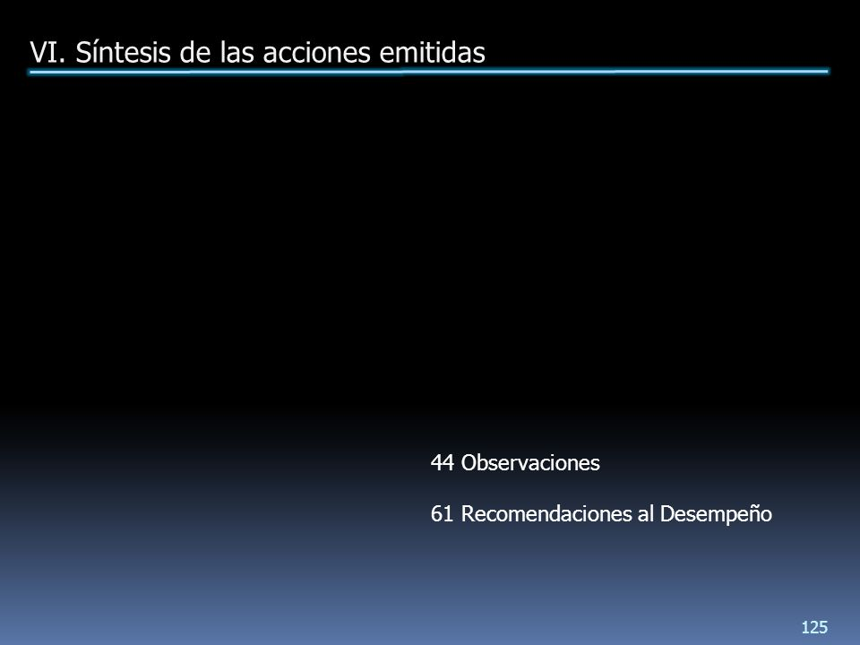 VI. Síntesis de las acciones emitidas 125 44 Observaciones 61 Recomendaciones al Desempeño