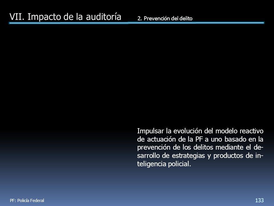 Impulsar la evolución del modelo reactivo de actuación de la PF a uno basado en la prevención de los delitos mediante el de- sarrollo de estrategias y productos de in- teligencia policial.