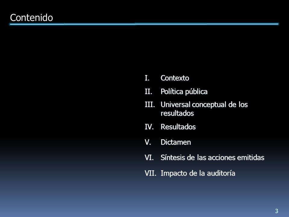 II.Política pública III.Universal conceptual de los resultados IV.Resultados V.Dictamen VI.Síntesis de las acciones emitidas VII.Impacto de la auditoría Contenido 3