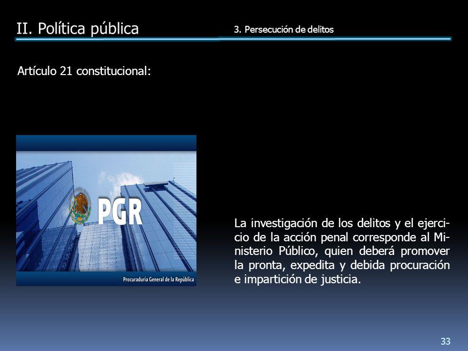 Artículo 21 constitucional: La investigación de los delitos y el ejerci- cio de la acción penal corresponde al Mi- nisterio Público, quien deberá promover la pronta, expedita y debida procuración e impartición de justicia.