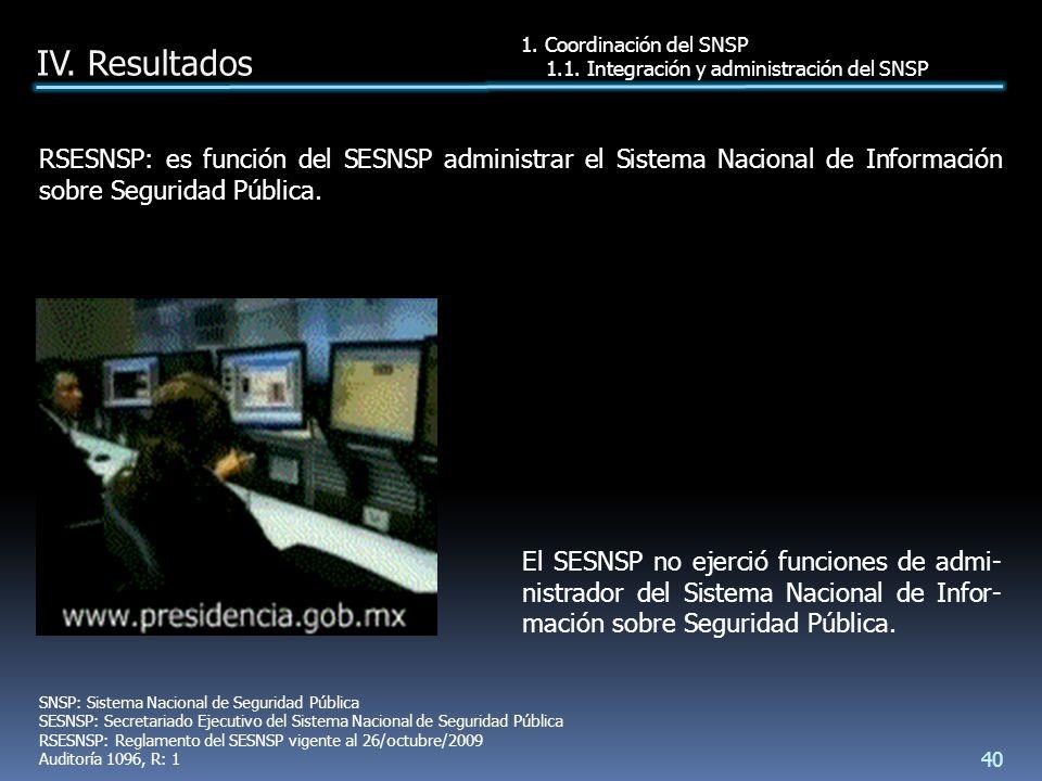 El SESNSP no ejerció funciones de admi- nistrador del Sistema Nacional de Infor- mación sobre Seguridad Pública.