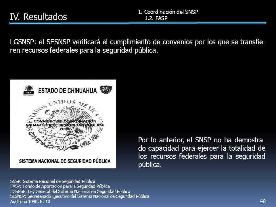 Por lo anterior, el SNSP no ha demostra- do capacidad para ejercer la totalidad de los recursos federales para la seguridad pública.