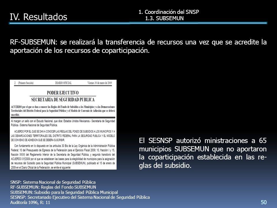 RF-SUBSEMUN: se realizará la transferencia de recursos una vez que se acredite la aportación de los recursos de coparticipación.
