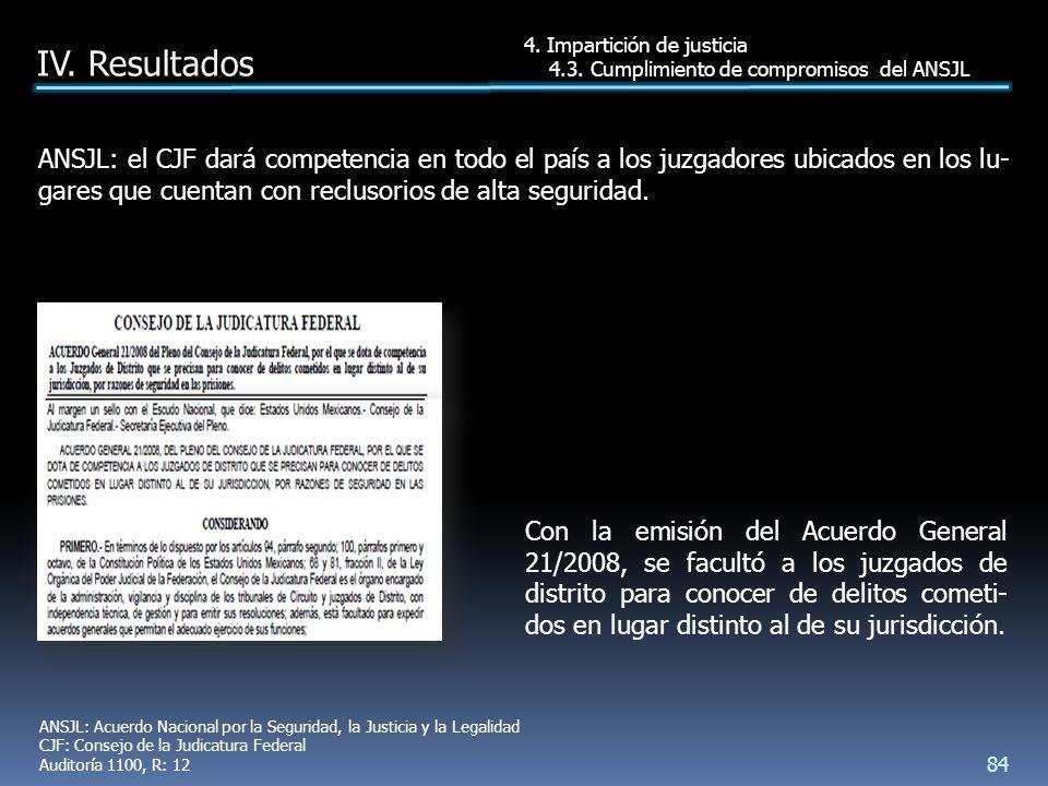 ANSJL: el CJF dará competencia en todo el país a los juzgadores ubicados en los lu- gares que cuentan con reclusorios de alta seguridad.