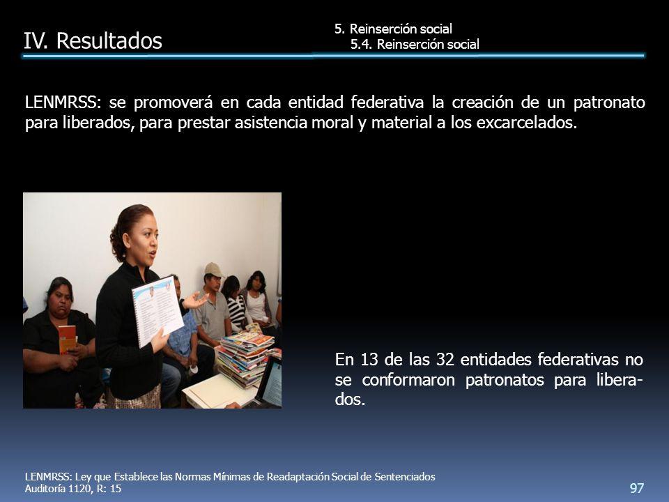 En 13 de las 32 entidades federativas no se conformaron patronatos para libera- dos.
