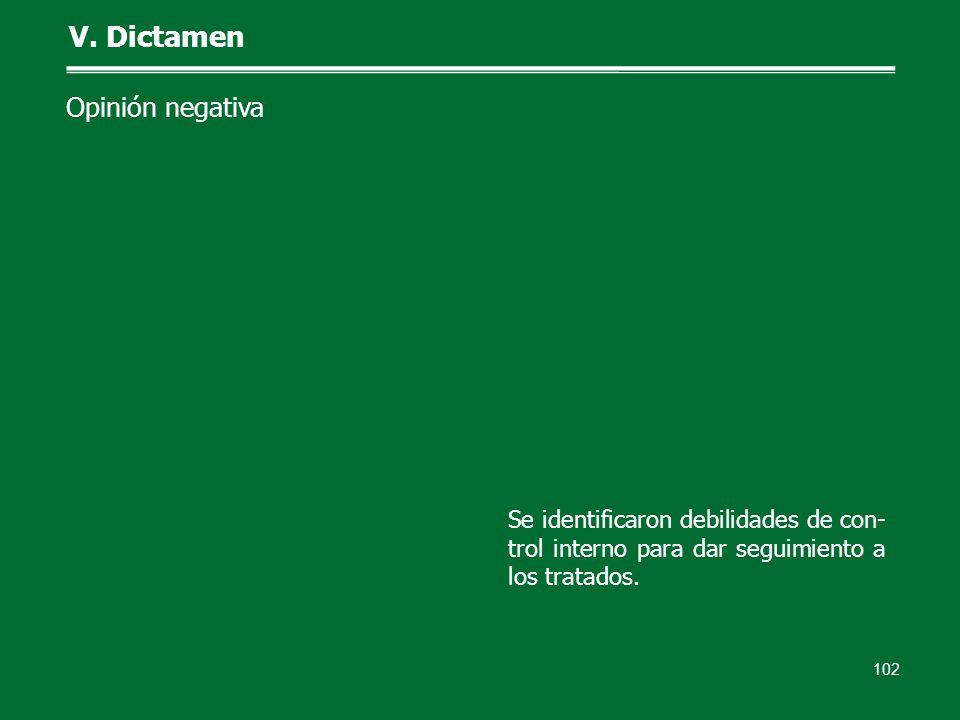 102 V. Dictamen Opinión negativa Se identificaron debilidades de con- trol interno para dar seguimiento a los tratados.