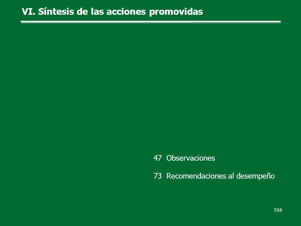 VI. Síntesis de las acciones promovidas 104 47 Observaciones 73 Recomendaciones al desempeño