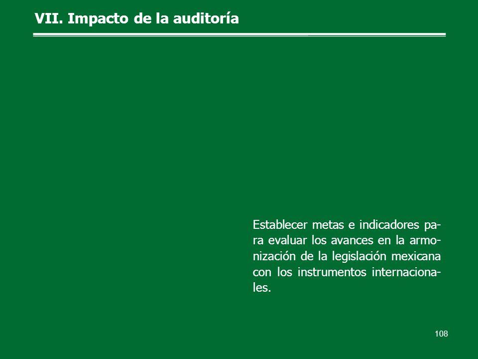 108 VII. Impacto de la auditoría Establecer metas e indicadores pa- ra evaluar los avances en la armo- nización de la legislación mexicana con los ins