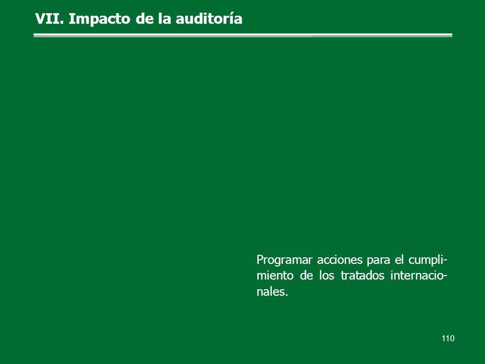 110 VII. Impacto de la auditoría Programar acciones para el cumpli- miento de los tratados internacio- nales.