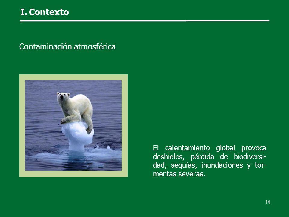 El calentamiento global provoca deshielos, pérdida de biodiversi- dad, sequías, inundaciones y tor- mentas severas. 14 I.Contexto Contaminación atmosf