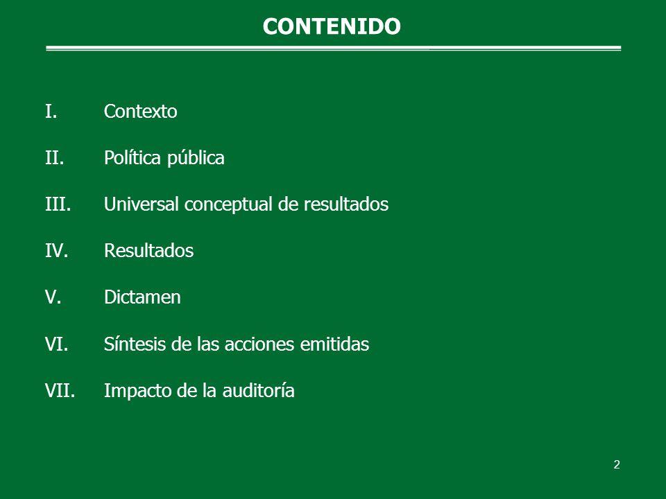 I.Contexto II.Política pública III.Universal conceptual de resultados IV.Resultados V.Dictamen VI.Síntesis de las acciones emitidas VII.Impacto de la