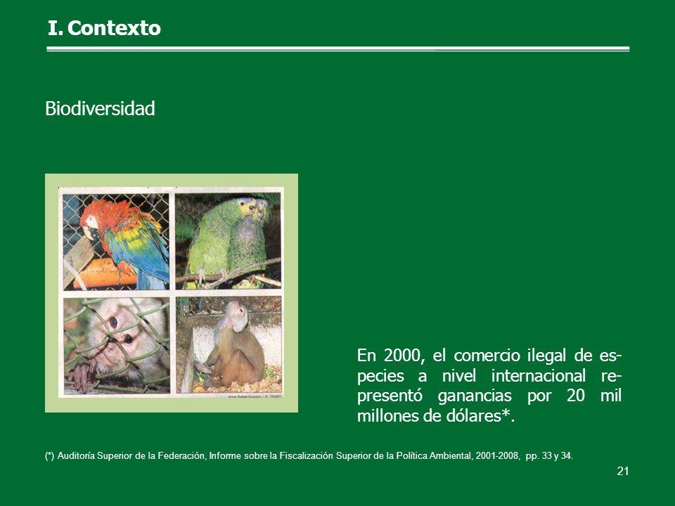 En 2000, el comercio ilegal de es- pecies a nivel internacional re- presentó ganancias por 20 mil millones de dólares*. 21 I.Contexto Biodiversidad (*