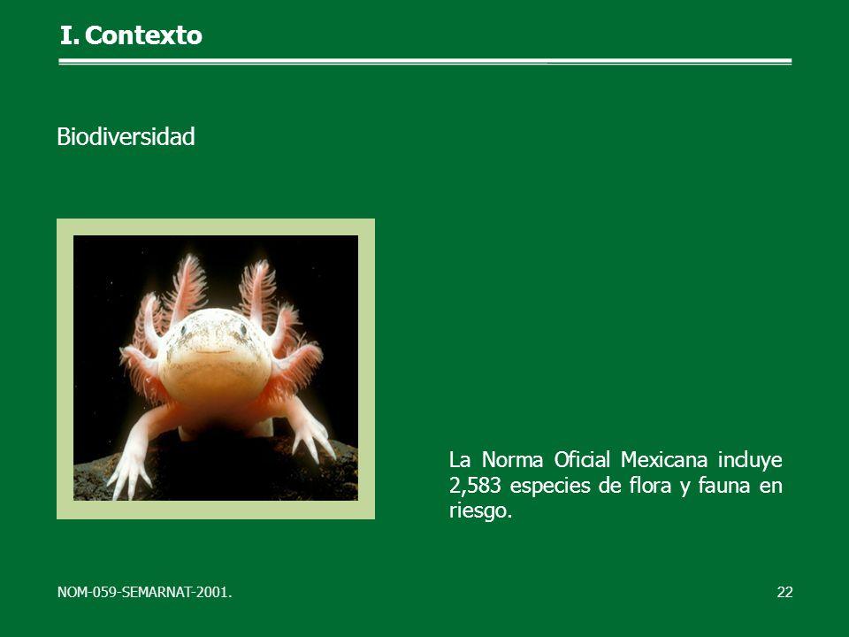 La Norma Oficial Mexicana incluye 2,583 especies de flora y fauna en riesgo. NOM-059-SEMARNAT-2001. 22 I.Contexto Biodiversidad