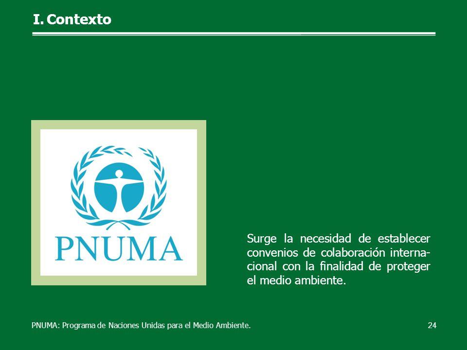 Surge la necesidad de establecer convenios de colaboración interna- cional con la finalidad de proteger el medio ambiente. 24 I.Contexto PNUMA: Progra