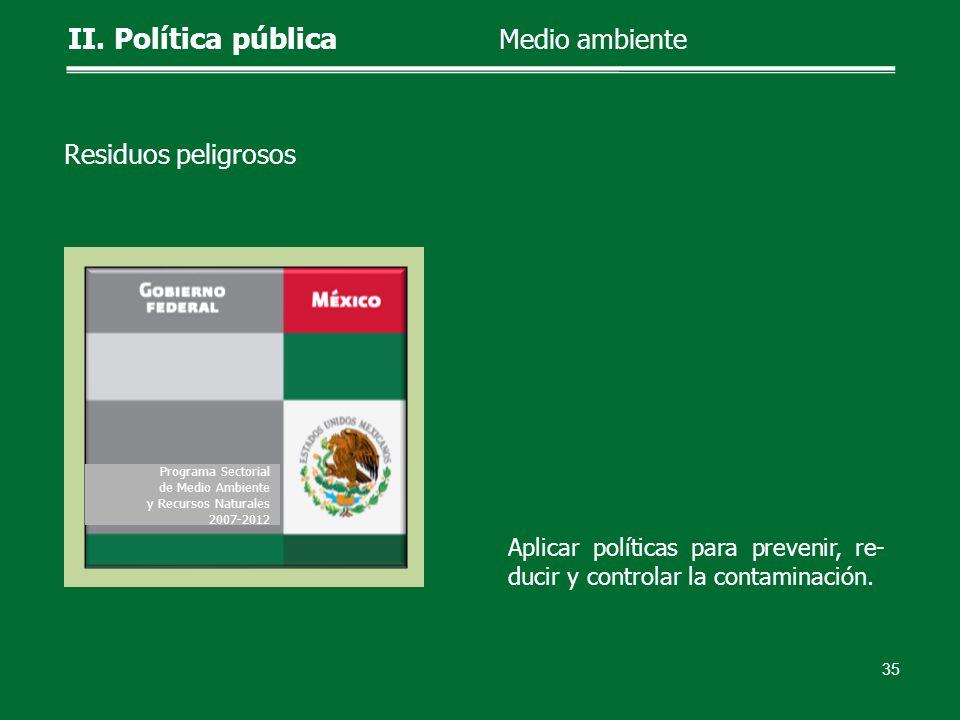 Aplicar políticas para prevenir, re- ducir y controlar la contaminación. 35 II. Política pública Medio ambiente Residuos peligrosos Programa Sectorial