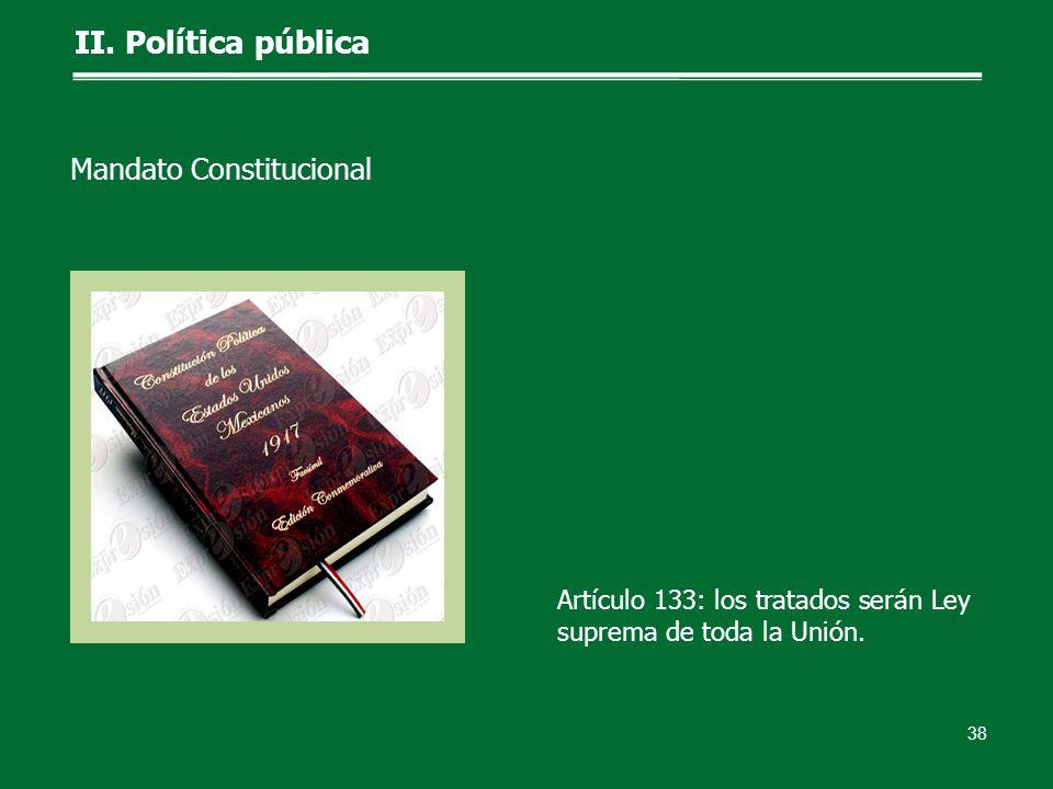 Artículo 133: los tratados serán Ley suprema de toda la Unión. II. Política pública 38 Mandato Constitucional