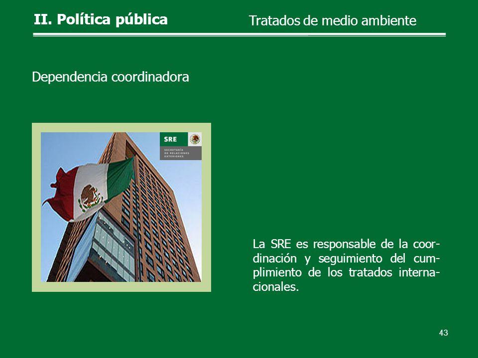 La SRE es responsable de la coor- dinación y seguimiento del cum- plimiento de los tratados interna- cionales. 43 II. Política pública Tratados de med