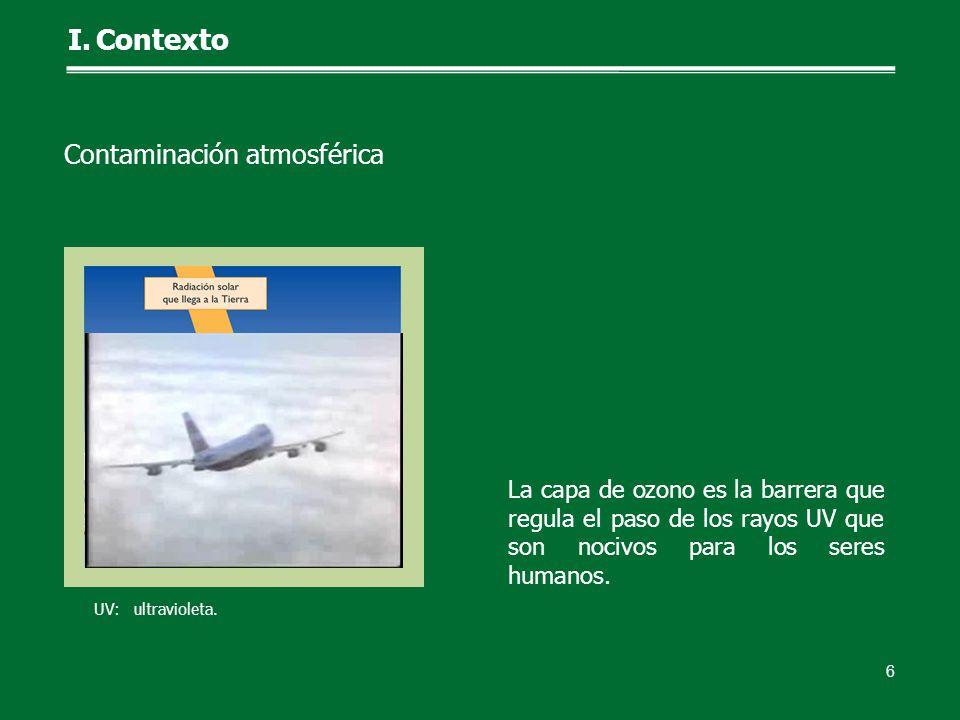 La capa de ozono es la barrera que regula el paso de los rayos UV que son nocivos para los seres humanos. 6 Contaminación atmosférica I.Contexto UV: u