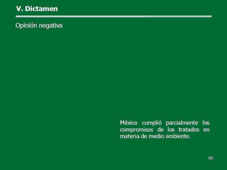 93 V. Dictamen Opinión negativa México cumplió parcialmente los compromisos de los tratados en materia de medio ambiente.