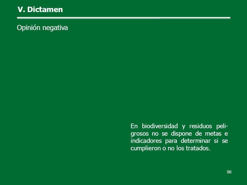 96 V. Dictamen Opinión negativa En biodiversidad y residuos peli- grosos no se dispone de metas e indicadores para determinar si se cumplieron o no lo