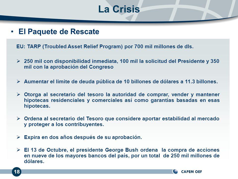 El Paquete de Rescate 18 La Crisis EU: TARP (Troubled Asset Relief Program) por 700 mil millones de dls. 250 mil con disponibilidad inmediata, 100 mil
