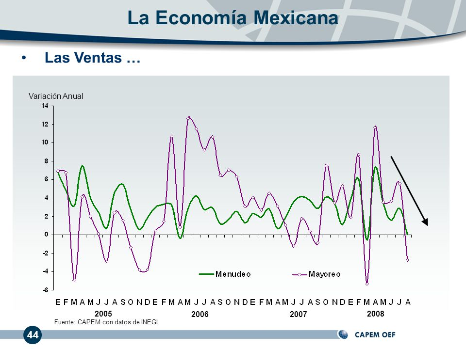 44 Las Ventas … 20062007 2005 Variación Anual La Economía Mexicana 2008 Fuente: CAPEM con datos de INEGI.