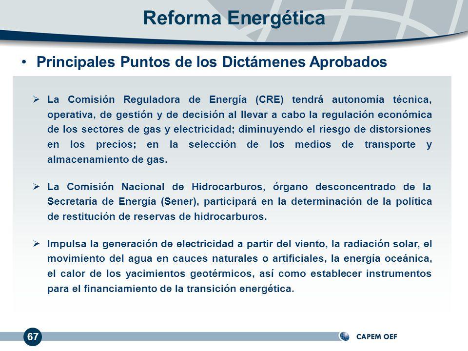 67 La Comisión Reguladora de Energía (CRE) tendrá autonomía técnica, operativa, de gestión y de decisión al llevar a cabo la regulación económica de los sectores de gas y electricidad; diminuyendo el riesgo de distorsiones en los precios; en la selección de los medios de transporte y almacenamiento de gas.