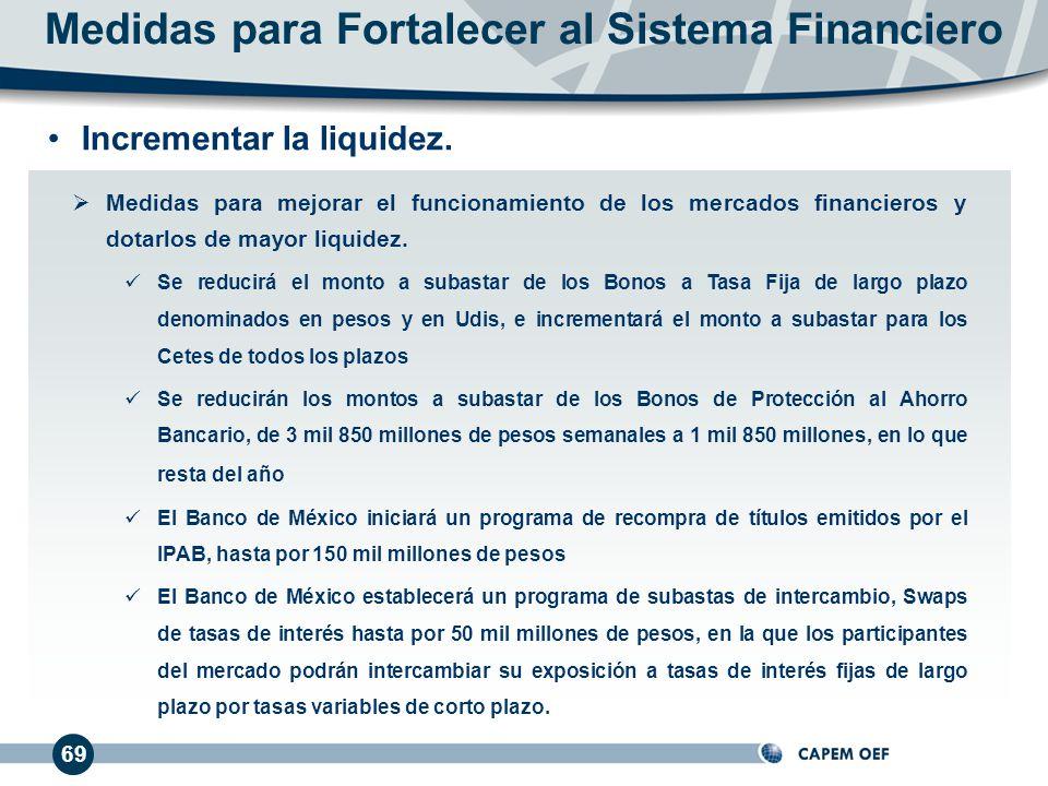 69 Medidas para mejorar el funcionamiento de los mercados financieros y dotarlos de mayor liquidez.