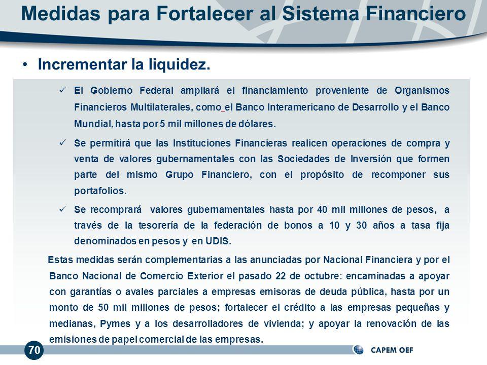 70 El Gobierno Federal ampliará el financiamiento proveniente de Organismos Financieros Multilaterales, como el Banco Interamericano de Desarrollo y el Banco Mundial, hasta por 5 mil millones de dólares.