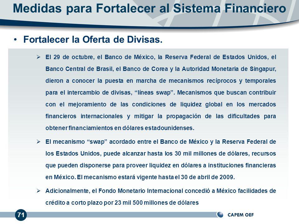 71 El 29 de octubre, el Banco de México, la Reserva Federal de Estados Unidos, el Banco Central de Brasil, el Banco de Corea y la Autoridad Monetaria de Singapur, dieron a conocer la puesta en marcha de mecanismos recíprocos y temporales para el intercambio de divisas, líneas swap.