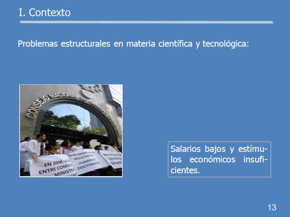I. Contexto Problemas estructurales en materia científica y tecnológica: Falta de reconocimiento a la labor científica de los investigadores. 12