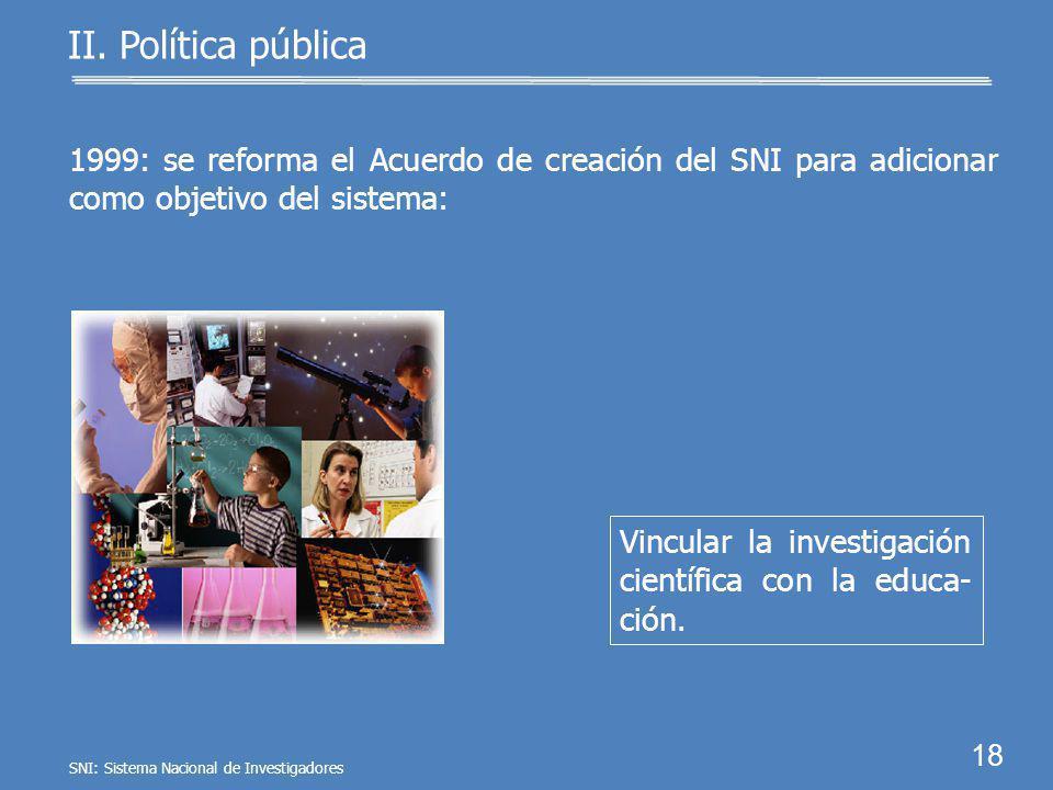 17 Formar e incrementar el número de investigado- res en apoyo a la educa- ción. II. Política pública 1984: acuerdo de creación del SNI que señala com