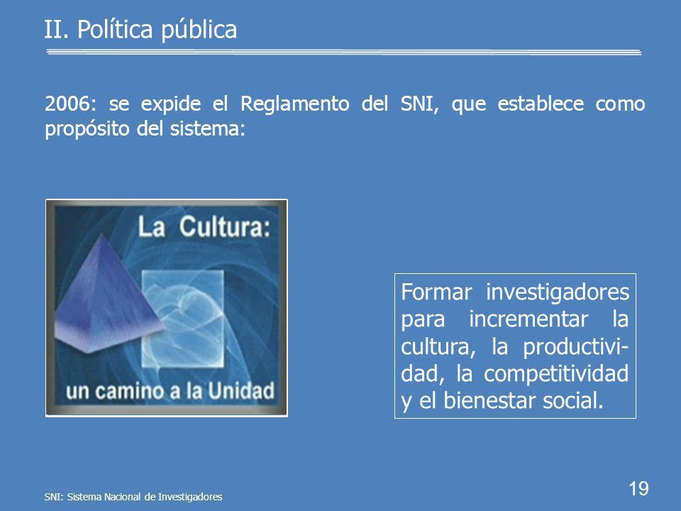 18 II. Política pública Vincular la investigación científica con la educa- ción. 1999: se reforma el Acuerdo de creación del SNI para adicionar como o