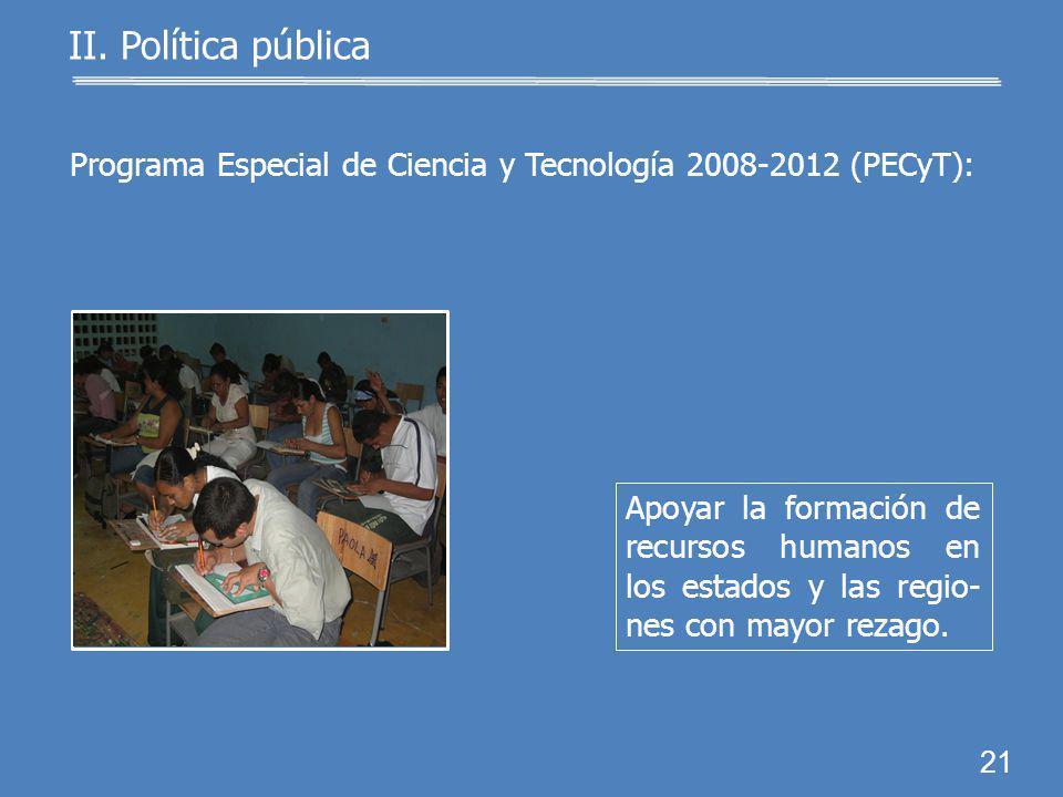 20 Incrementar el acervo de recursos humanos de alto nivel. II. Política pública Programa Especial de Ciencia y Tecnología 2008-2012 (PECyT):