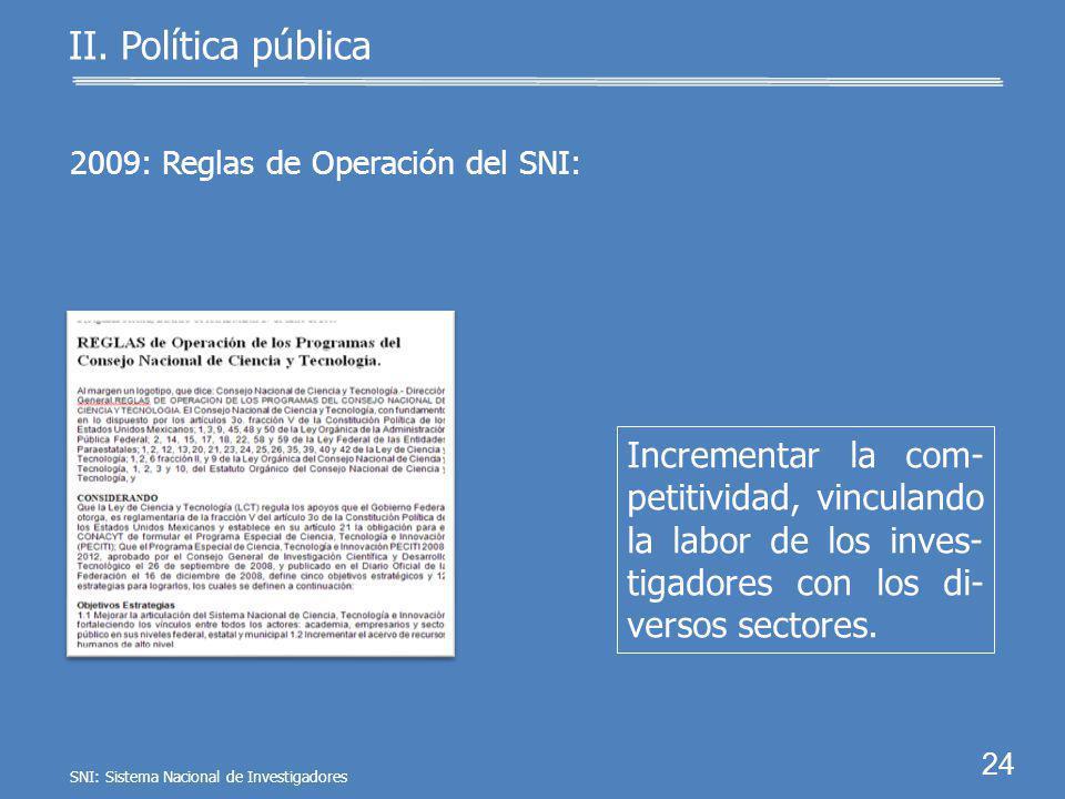 23 II. Política pública Presupuesto de Egresos de la Federación 2009: Generar conocimiento científico y tecnológico mediante investigadores consolidad
