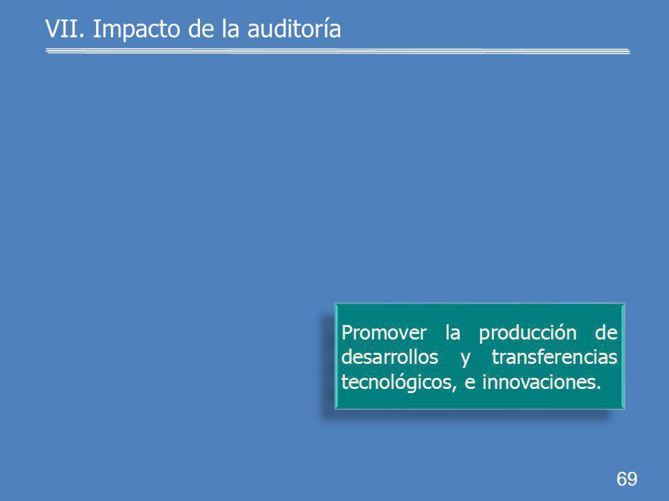 68 Definir indicadores estratégi- cos para medir el cumplimien- to de los objetivos del SNI. VII. Impacto de la auditoría SNI: Sistema Nacional de Inv