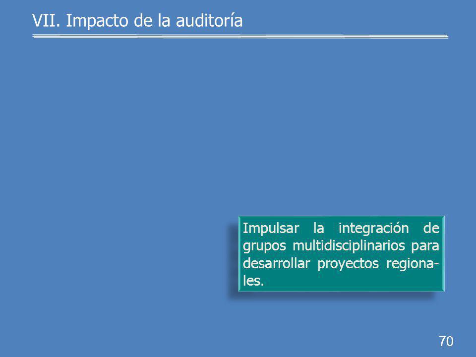 69 Promover la producción de desarrollos y transferencias tecnológicos, e innovaciones. VII. Impacto de la auditoría