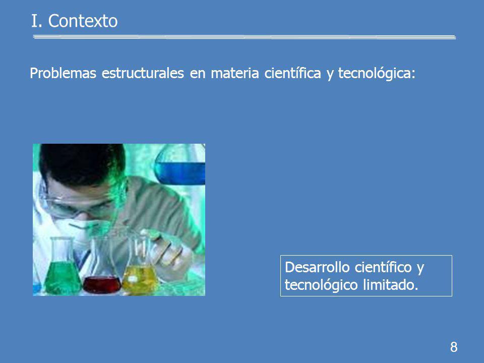 7 I. Contexto Redujo la inversión des- tinada a programas de investigación.