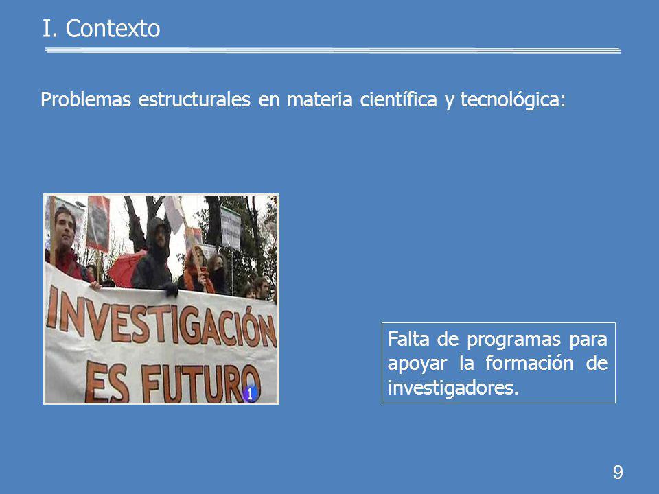 Problemas estructurales en materia científica y tecnológica: 8 I. Contexto Desarrollo científico y tecnológico limitado.