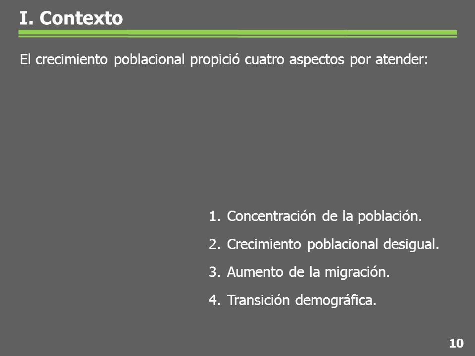 El crecimiento poblacional propició cuatro aspectos por atender: 10 1.Concentración de la población.