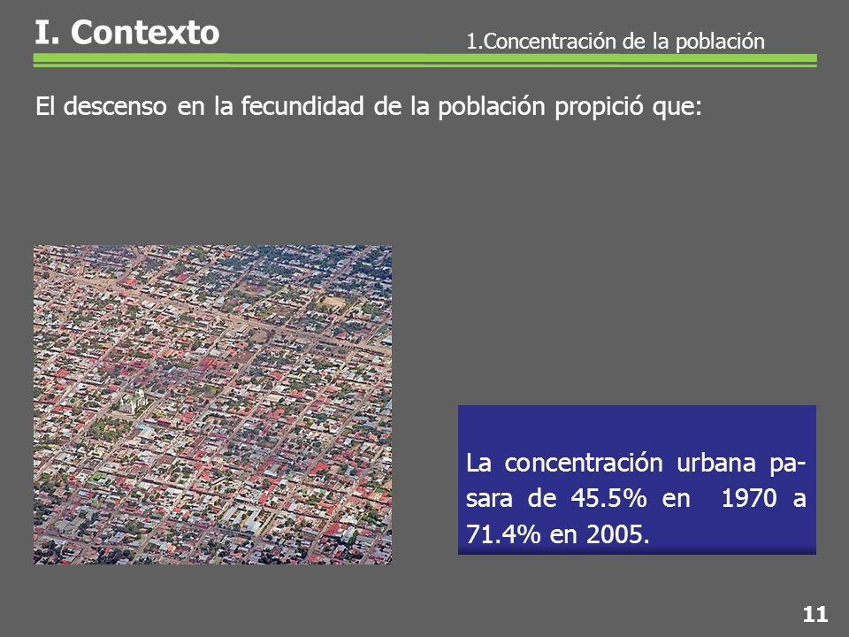 El descenso en la fecundidad de la población propició que: La concentración urbana pa- sara de 45.5% en 1970 a 71.4% en 2005.