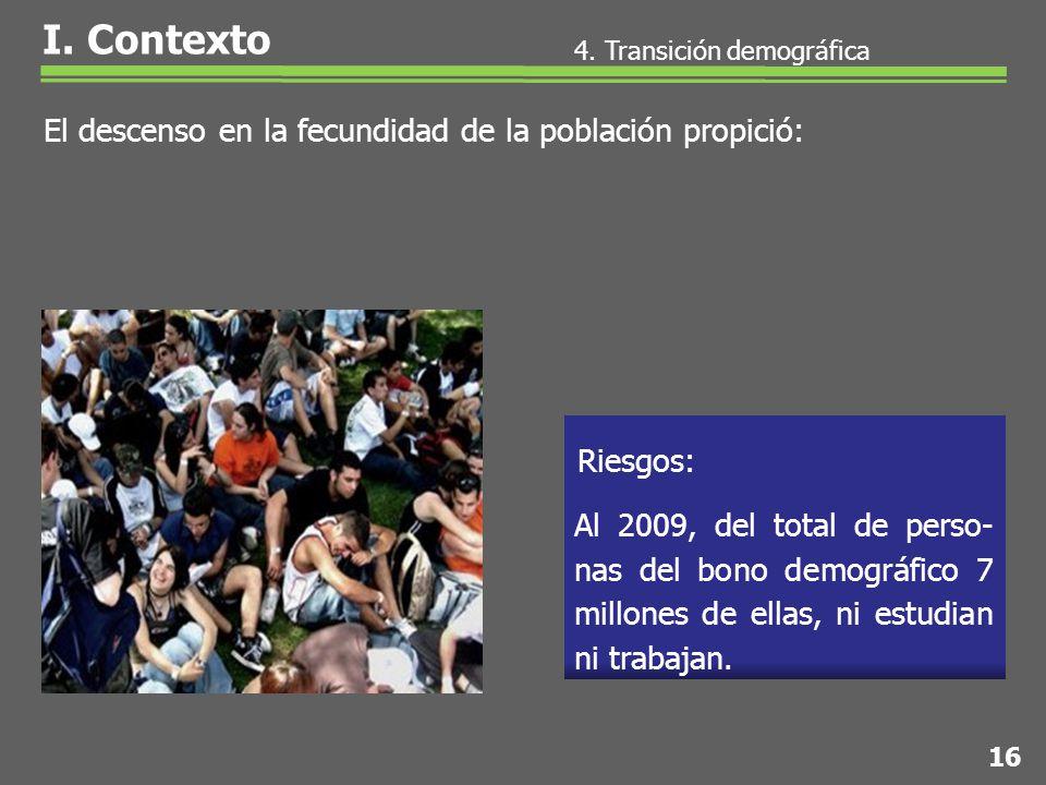 Al 2009, del total de perso- nas del bono demográfico 7 millones de ellas, ni estudian ni trabajan.