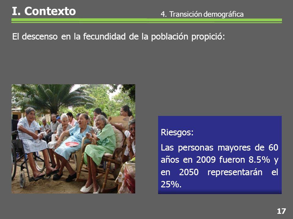 Las personas mayores de 60 años en 2009 fueron 8.5% y en 2050 representarán el 25%.