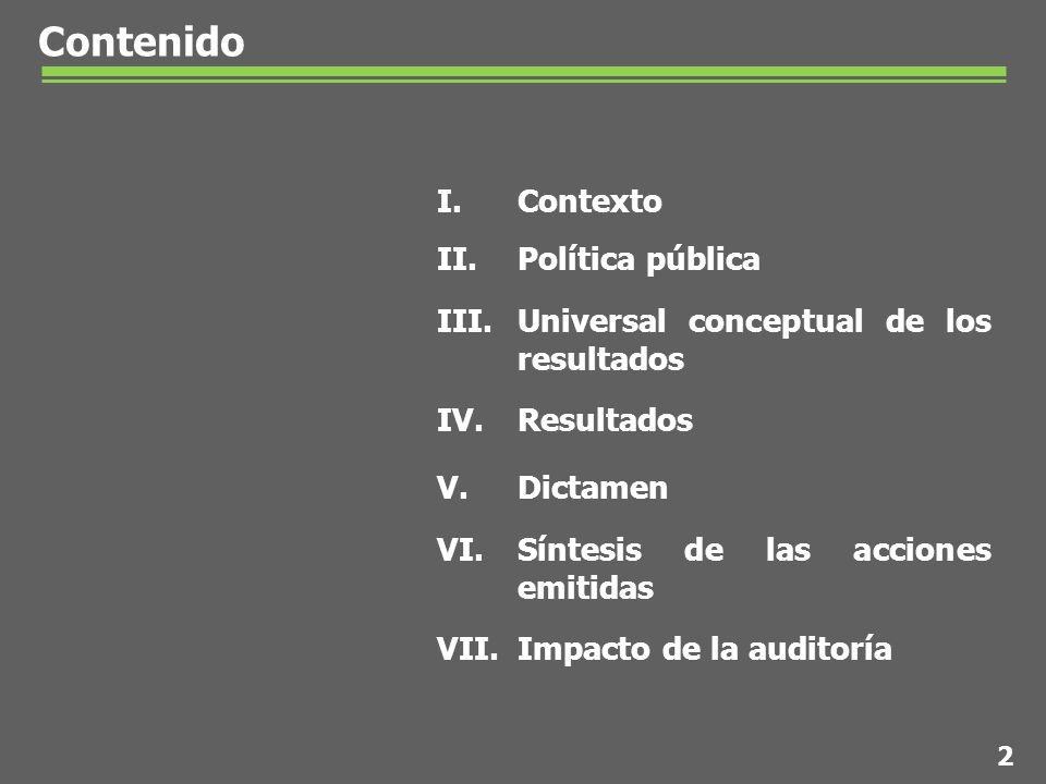 Contenido I.Contexto II.Política pública III.Universal conceptual de los resultados IV.Resultados V.Dictamen VI.Síntesis de las acciones emitidas VII.Impacto de la auditoría 2
