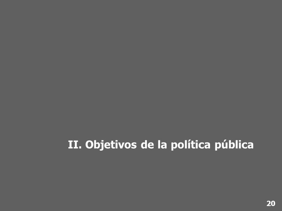 II. Objetivos de la política pública 20