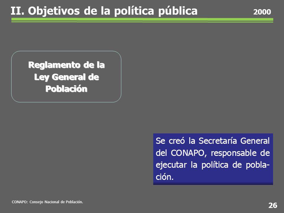 Se creó la Secretaría General del CONAPO, responsable de ejecutar la política de pobla- ción.