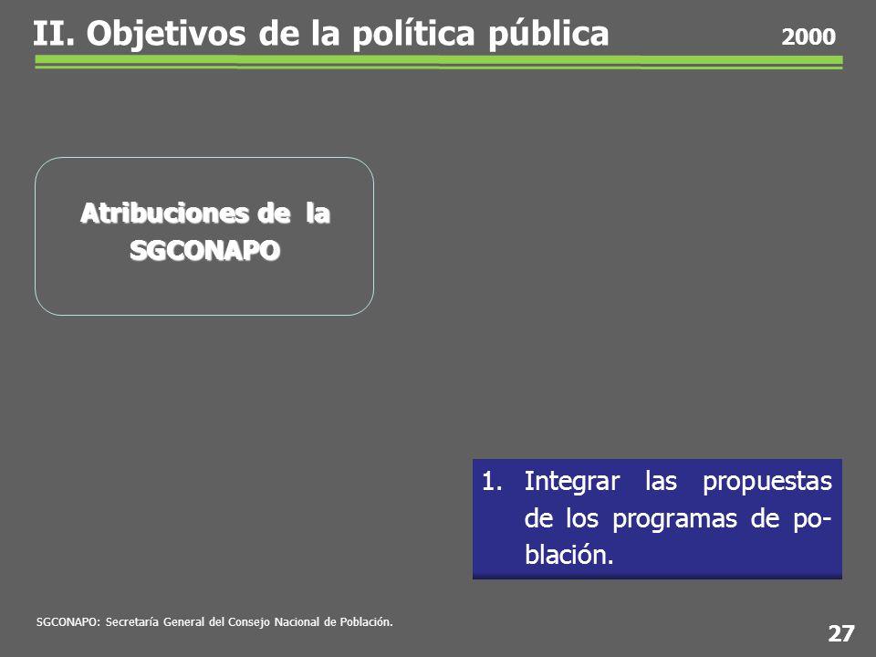1.Integrar las propuestas de los programas de po- blación.