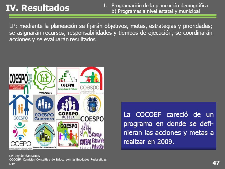La COCOEF careció de un programa en donde se defi- nieran las acciones y metas a realizar en 2009.